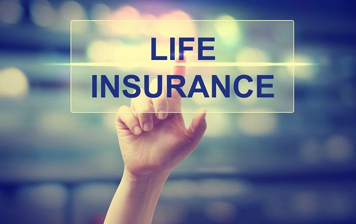 hand pressing life insurance